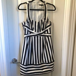 denim navy blue and white striped dress